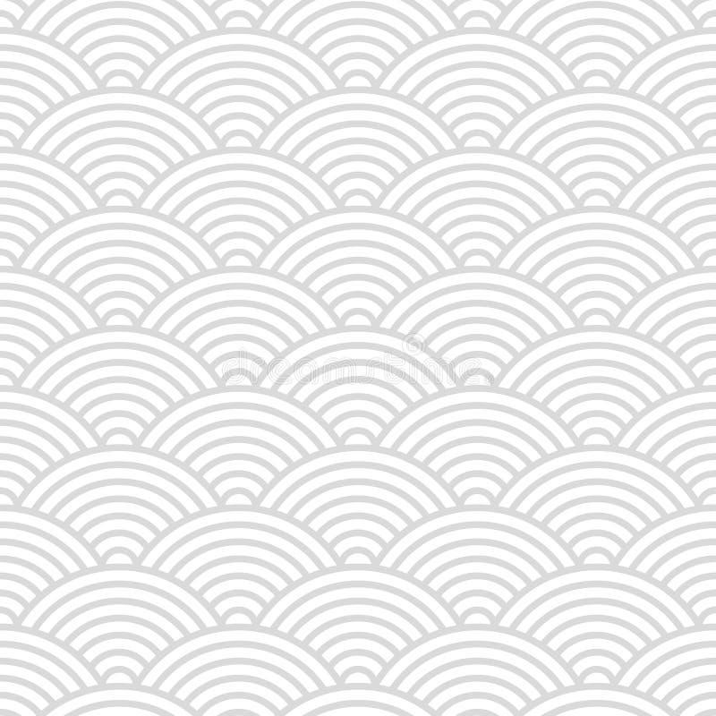 Bezszwowy wzór z Japońskiego stylu bielem i szarość okrąża ozdobnego dla Twój projekta ilustracji