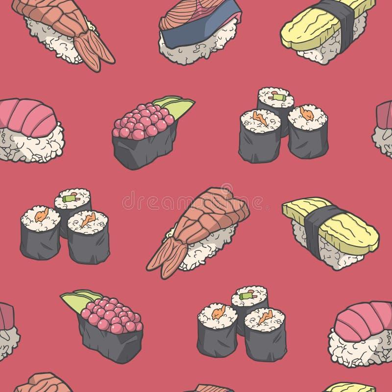 Bezszwowy wzór z japońskiego stylu suszi w kolorze ilustracji