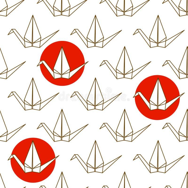 Bezszwowy wzór z Japońskimi origami żurawiami i czerwień okręgami na białym tle royalty ilustracja