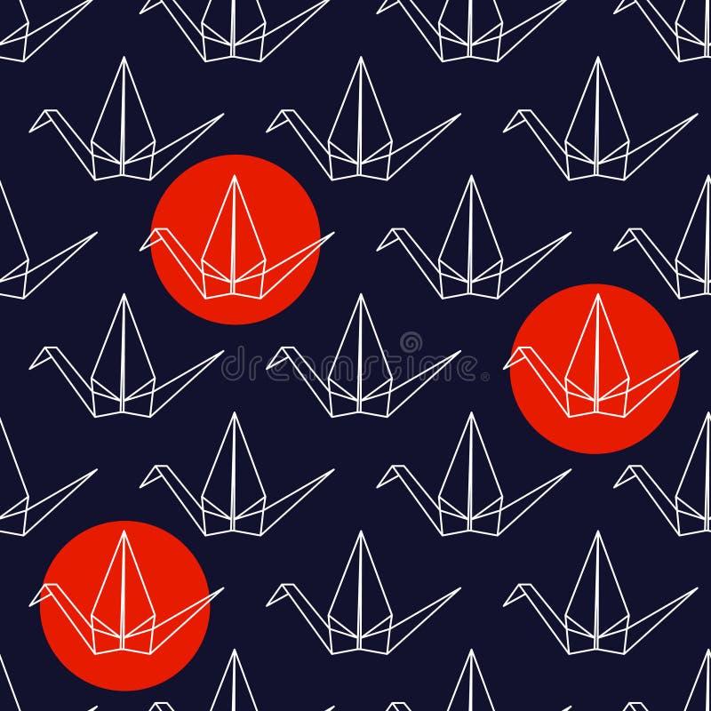 Bezszwowy wzór z Japońskimi origami żurawiami i czerwień okręgami na zmroku - błękitny tło ilustracja wektor