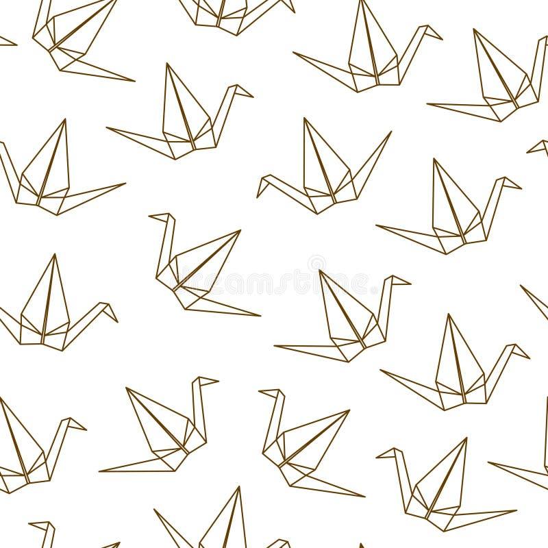 Bezszwowy wzór z Japońskimi origami żurawiami na białym tle royalty ilustracja