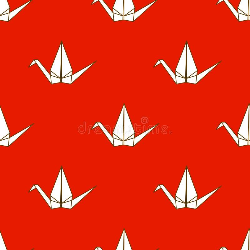 Bezszwowy wzór z Japońskimi origami żurawiami na czerwonym tle royalty ilustracja