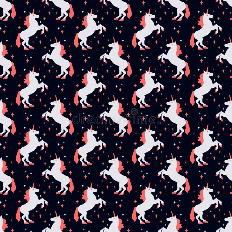 Bezszwowy wzór z jednorożec sylwetką również zwrócić corel ilustracji wektora Śliczny magiczny tło komputerowy fantazi fractal wy zdjęcie royalty free