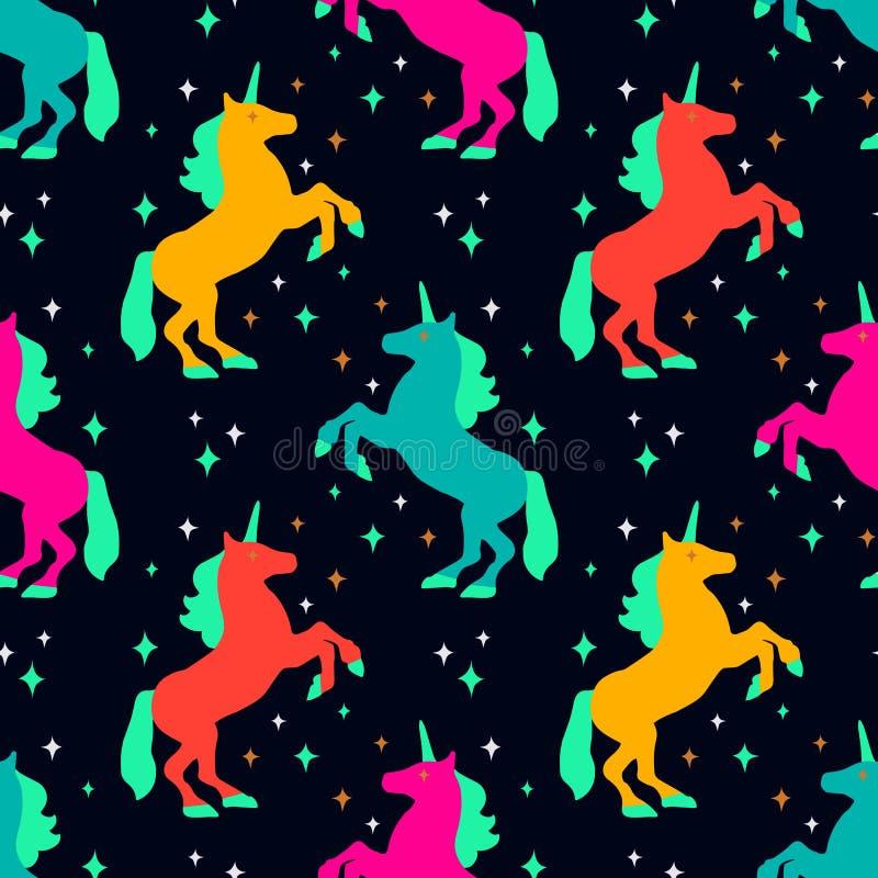 Bezszwowy wzór z jednorożec sylwetką również zwrócić corel ilustracji wektora Śliczny magiczny tło komputerowy fantazi fractal wy ilustracja wektor