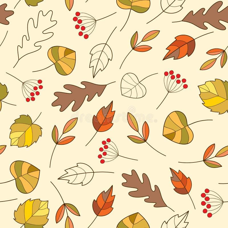 Bezszwowy wzór z jesień kolorowymi liśćmi w ślicznym kreskówka stylu ilustracja wektor