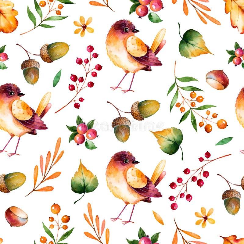 Bezszwowy wzór z jesień liśćmi, kwiatami, gałąź, jagodami i małym ptakiem, ilustracja wektor