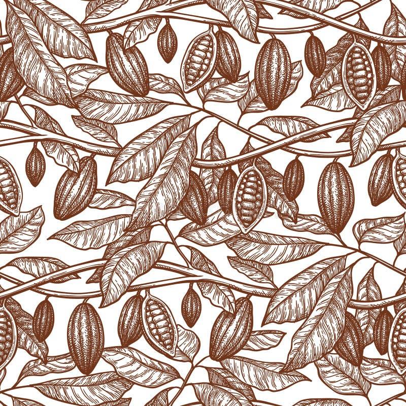 Bezszwowy wzór z kakao ilustracja wektor