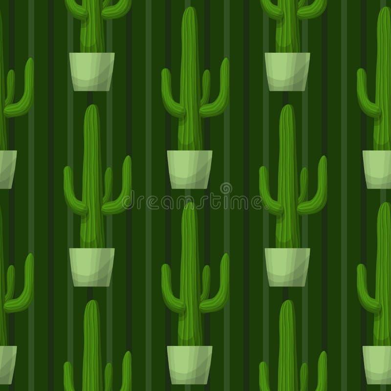 Bezszwowy wzór z kaktusem royalty ilustracja