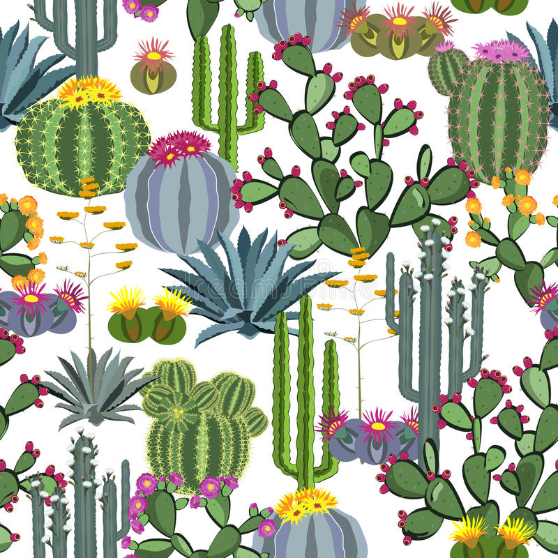 Bezszwowy wzór z kaktusowymi roślinami, błękitnymi agawami i kłującą bonkretą, ilustracja wektor