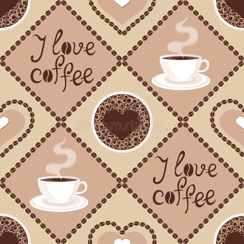 Bezszwowy wzór z kawą  ilustracja wektor