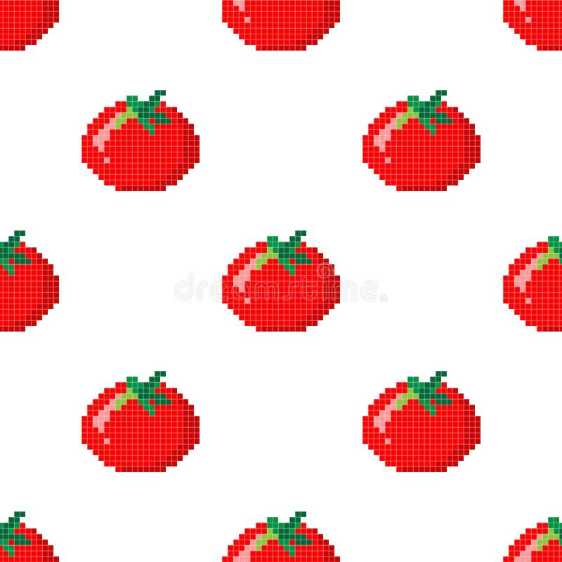 Bezszwowy wzór z 8 kawałków piksla pomidorem na białym tle r?wnie? zwr?ci? corel ilustracji wektora Starej szko?y komputerowej gr ilustracji
