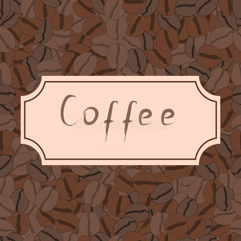 Bezszwowy wzór z kawowymi fasolami i retro ramą royalty ilustracja