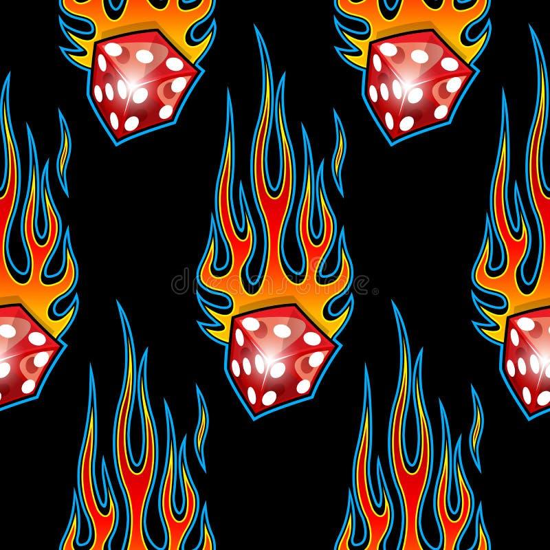 Bezszwowy wzór z klasycznym plemiennym hotrod mięśnia samochodem i kostka do gry grafika odizolowywająca na czarnym tle płoniemy ilustracja wektor