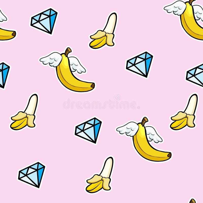 Bezszwowy wzór z kline ikonami latający banany i diamenty - doodle abstrakcjonistycznego tło royalty ilustracja