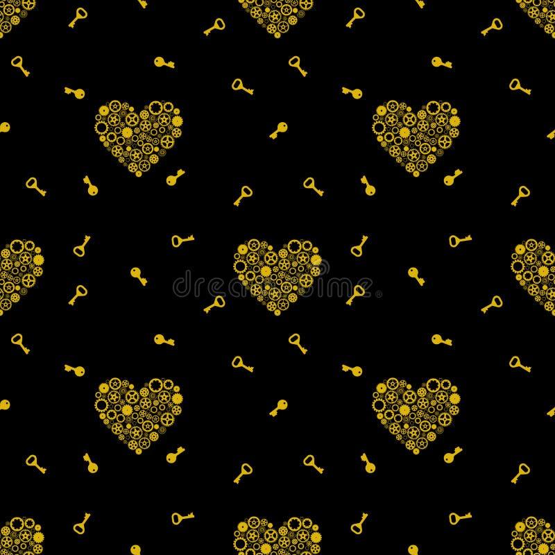 Bezszwowy wzór z kluczami i kierowym składać się z przekładnie Złoty na czarnym tle wektor ilustracji