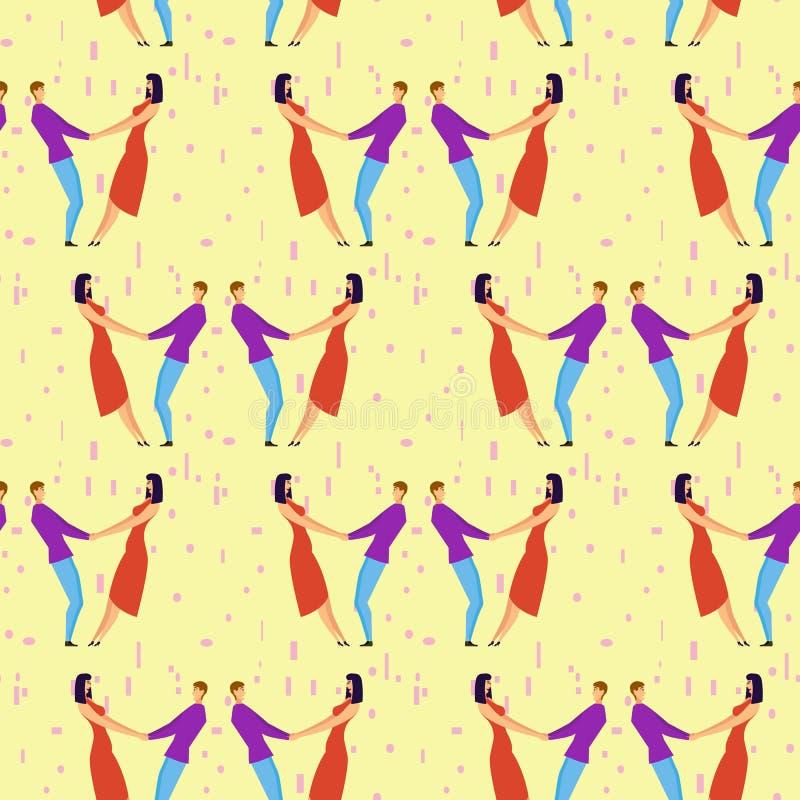 Bezszwowy wzór z kochanków b kreskówek dziewczyną i charakterami ilustracja wektor