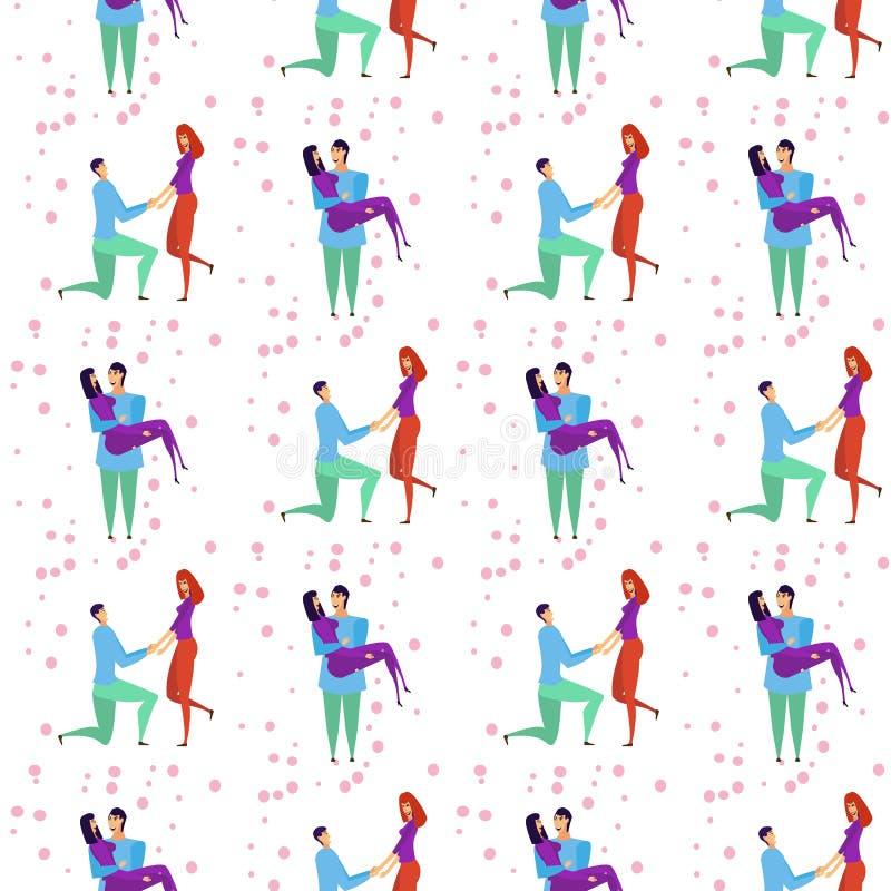 Bezszwowy wzór z kochanków b kreskówek dziewczyną i charakterami ilustracji