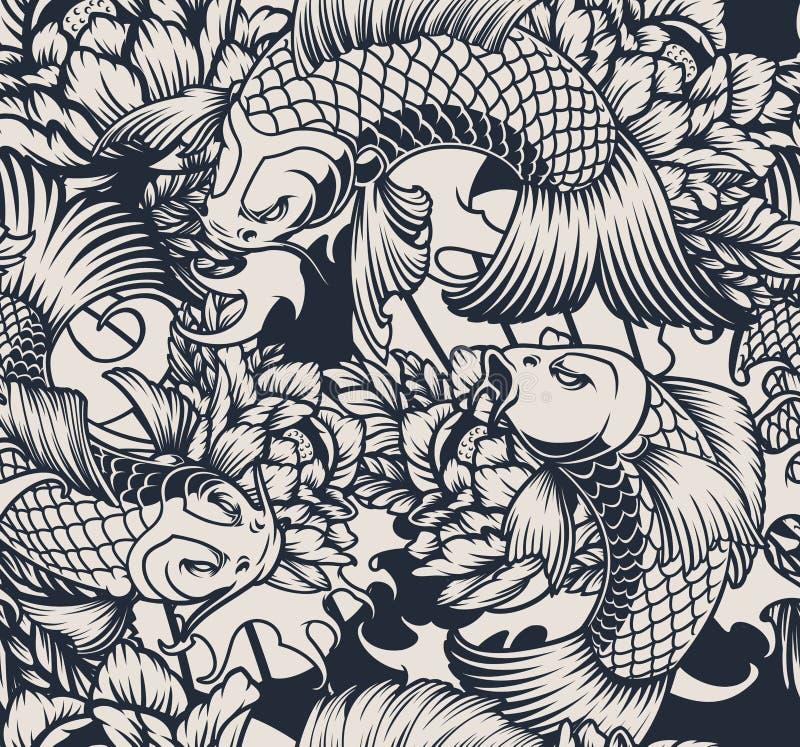 Bezszwowy wzór z koja karpiem w błękitnych cieniach ilustracji