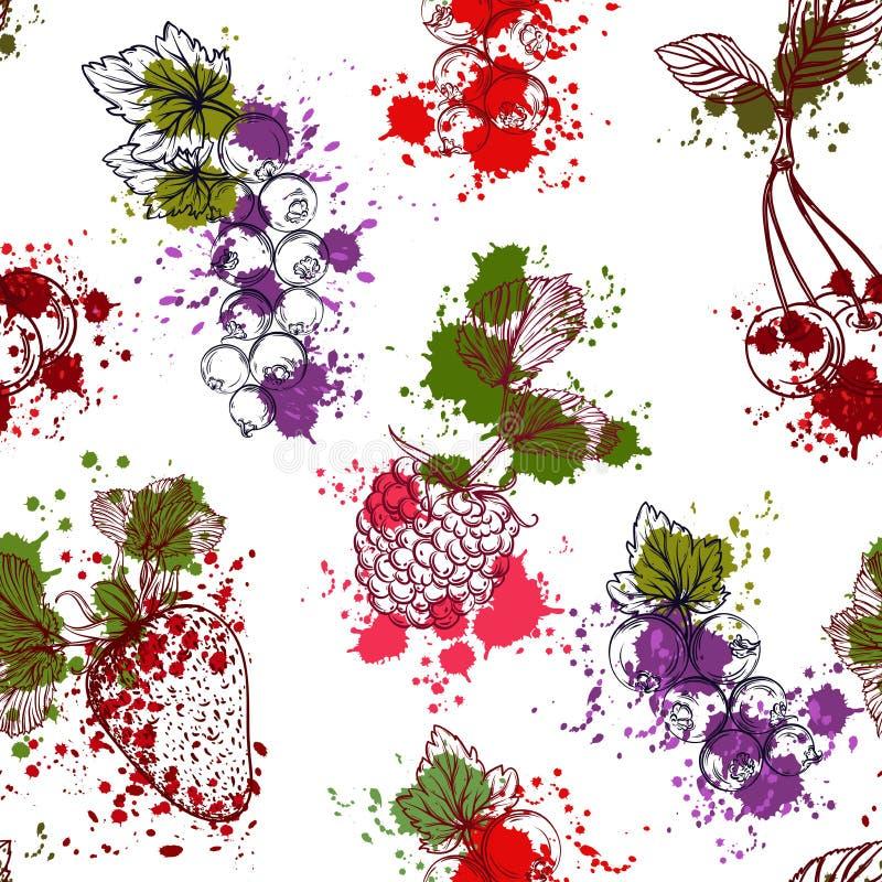 Bezszwowy wzór z kolekcją owoc i jagody w akwareli projektujemy Truskawki, wiśnie, rodzynki, malinki royalty ilustracja