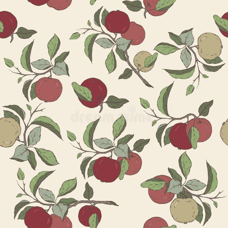 Bezszwowy wzór z kolor jabłczaną owoc i liście kreślimy ilustracji