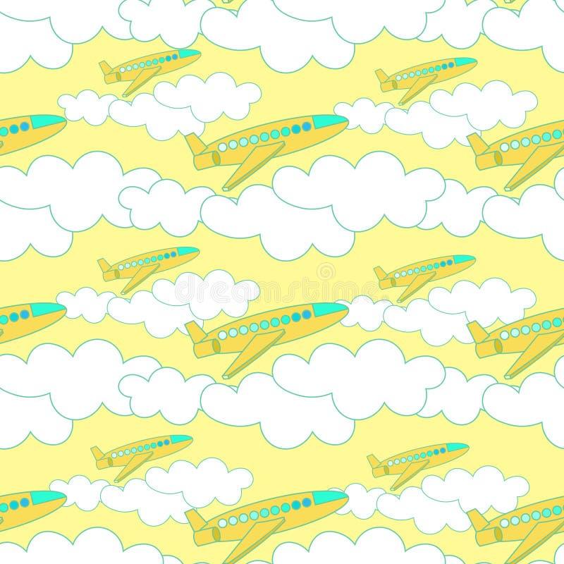 Bezszwowy wzór z kolorem żółtym hebluje z chmurami przy zmierzchem ilustracja wektor