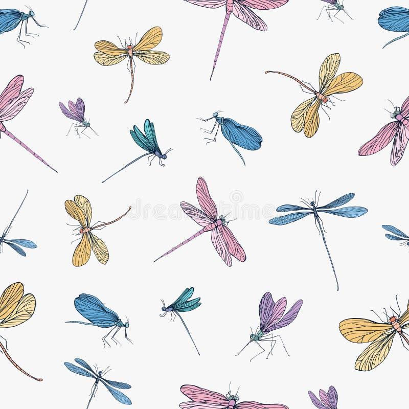 Bezszwowy wzór z kolorowa ręka rysującymi dragonflies na białym tle Tło z eleganckimi latającymi insektami wektor ilustracji