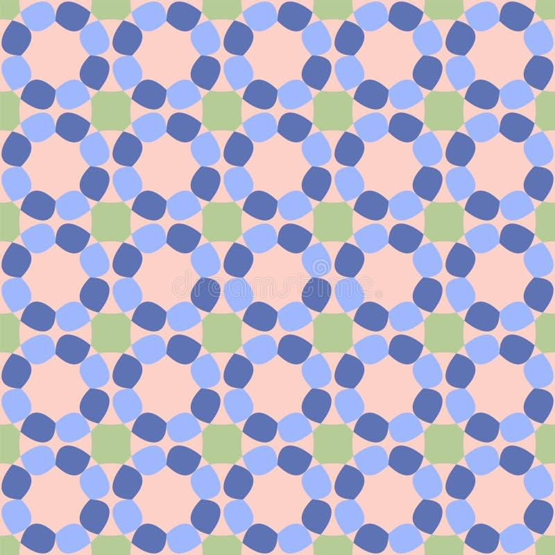 Bezszwowy wzór z kolorowym abstraktem kwitnie na różowym tle royalty ilustracja