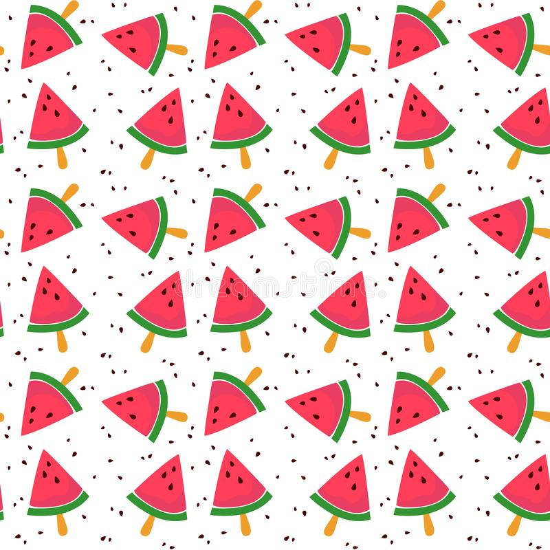 Bezszwowy wzór z kolorowym arbuzem ilustracji