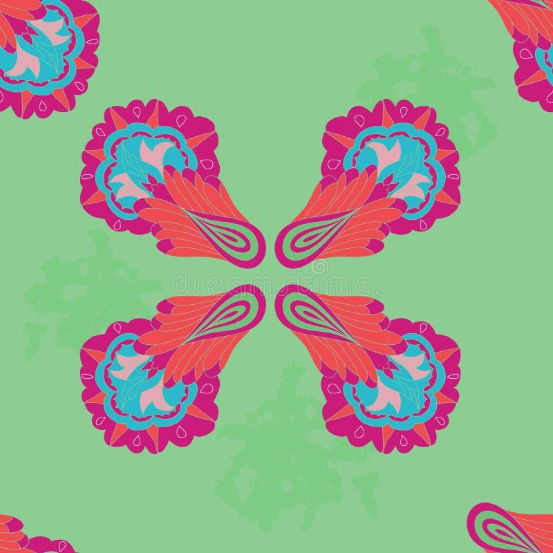 Bezszwowy wzór z kolorowym symmetric ornamentem fotografia stock