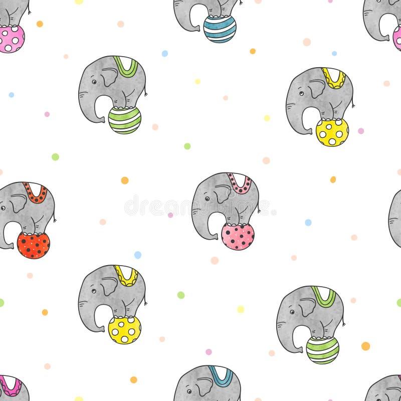 Bezszwowy wzór z kolorowymi ślicznymi cyrkowymi słoniami ilustracji