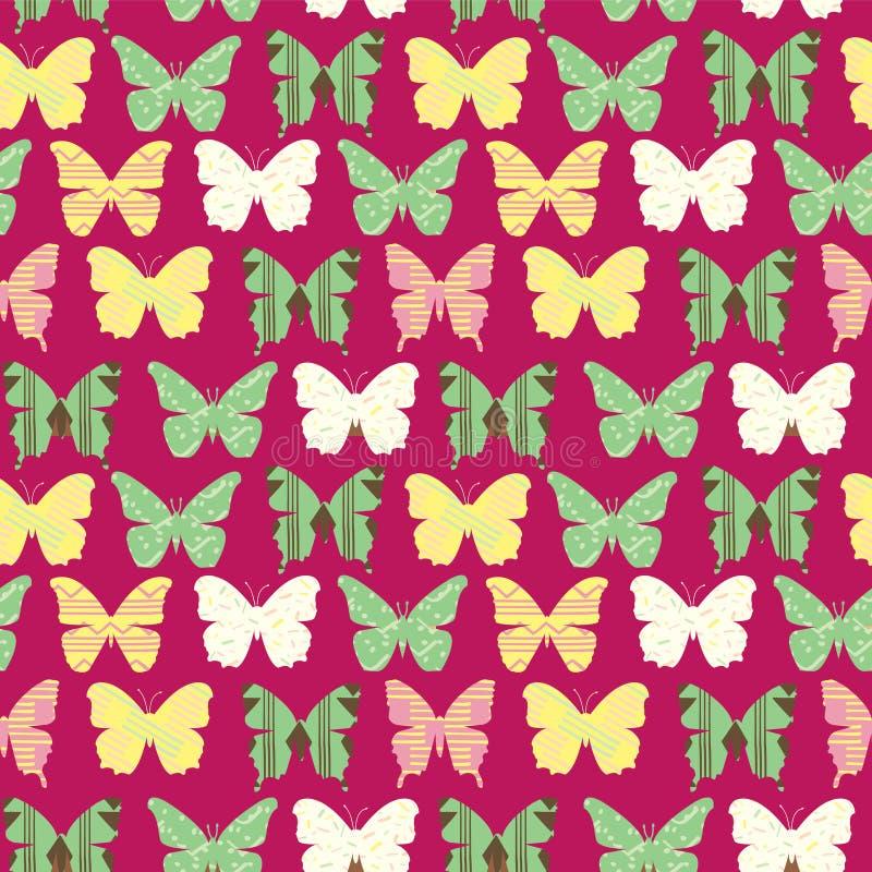Bezszwowy wzór z Kolorowymi ślicznymi motylami royalty ilustracja