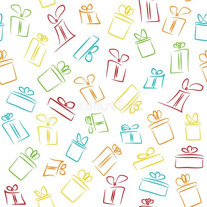 Bezszwowy wzór z kolorowymi śmiesznymi prezentów pudełkami ilustracji