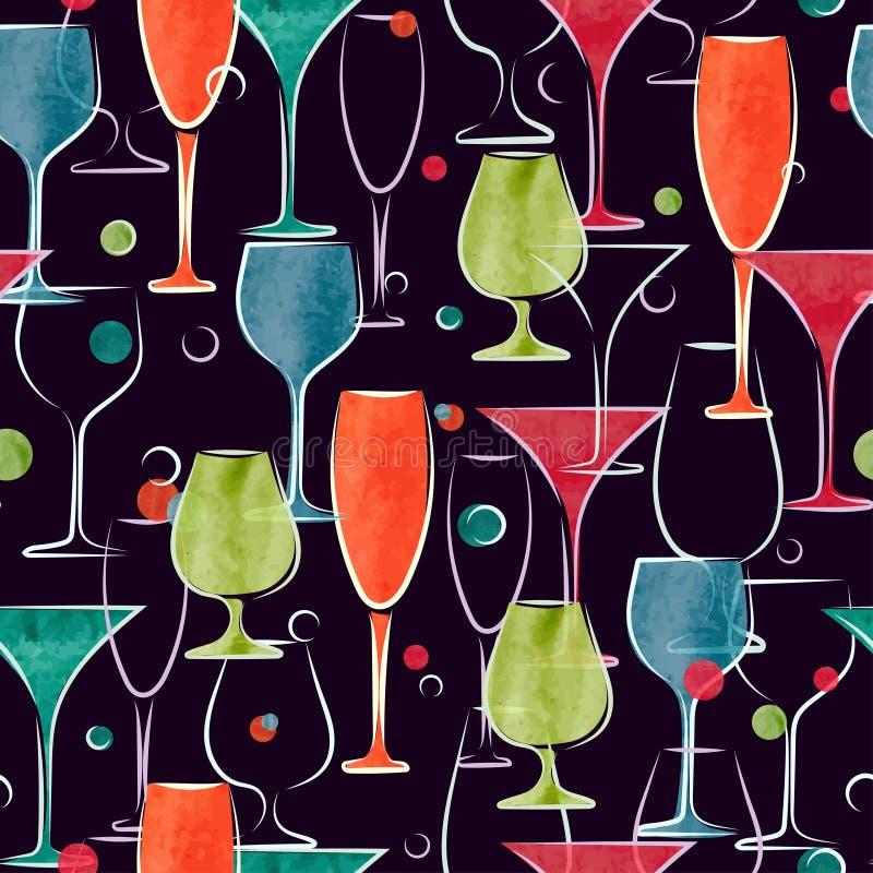 Bezszwowy wzór z kolorowymi akwarela koktajlu szkłami ilustracji