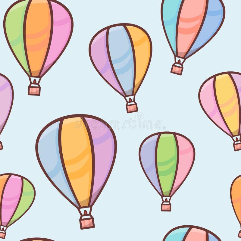 Bezszwowy wzór z kolorowymi balonami z konturem w nieba, naiwnego i prostego tle, wektorowa ilustracja dla ilustracji