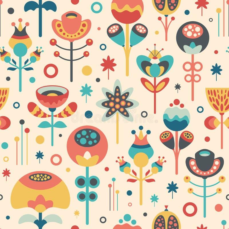 Bezszwowy wzór z kolorowymi boże narodzenie kwiatami, liśćmi i royalty ilustracja