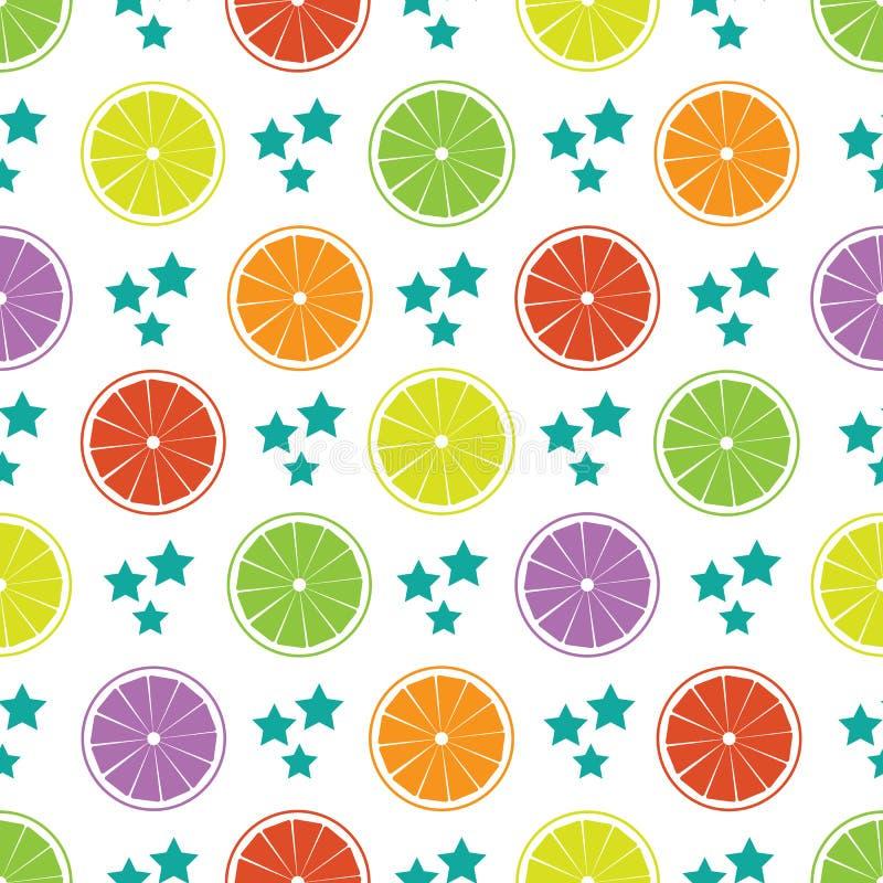 Bezszwowy wzór z kolorowymi cytrus owoc pokrajać i gra główna rolę ilustracji