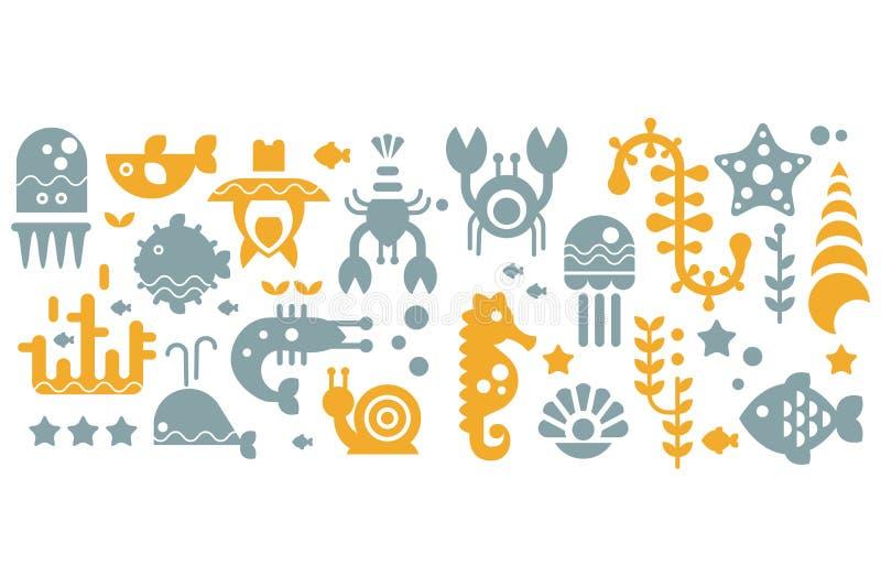 Bezszwowy wzór z kolorowymi dennymi istotami, kolorem żółtym i szarymi podwodnymi zwierzętami, wektorowe ilustracje ilustracja wektor