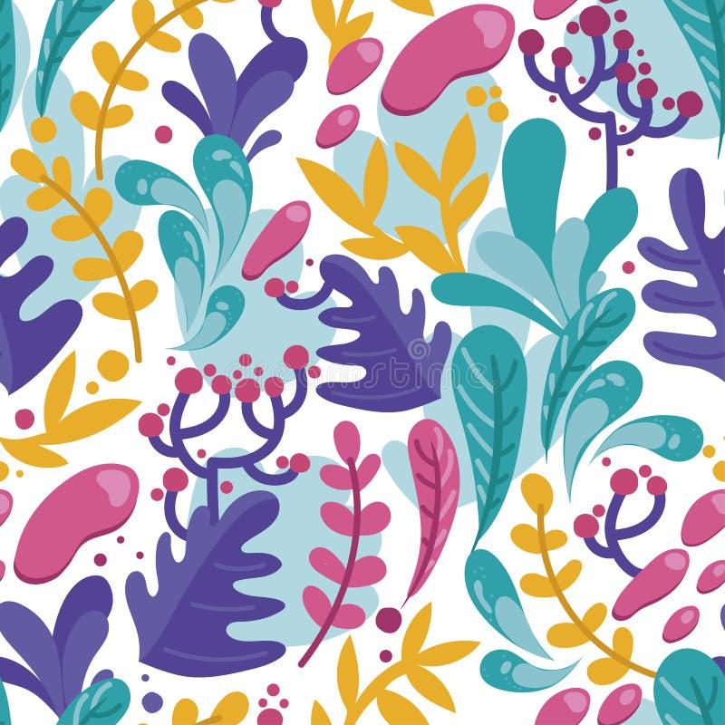Bezszwowy wzór z kolorowymi fantastycznymi liśćmi w mieszkanie stylu ilustracji
