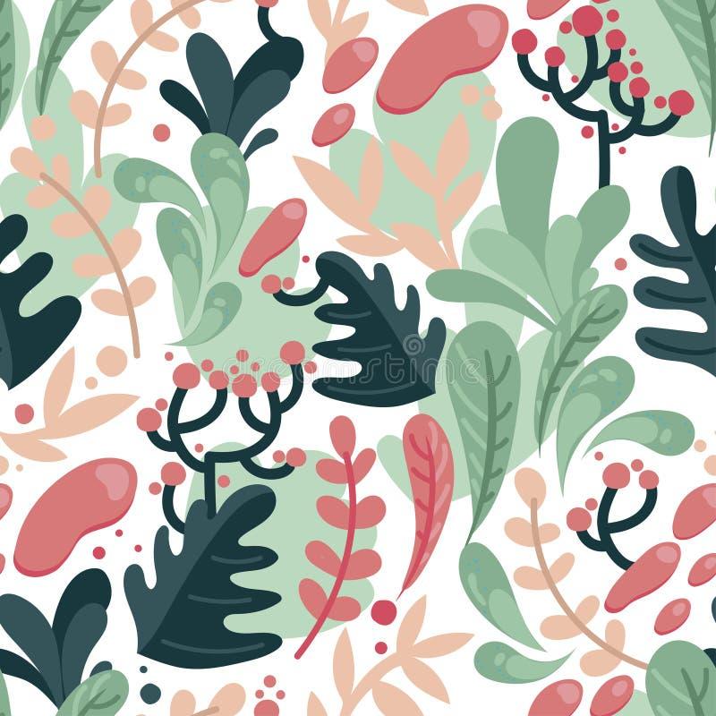 Bezszwowy wzór z kolorowymi fantastycznymi liśćmi w mieszkanie stylu royalty ilustracja