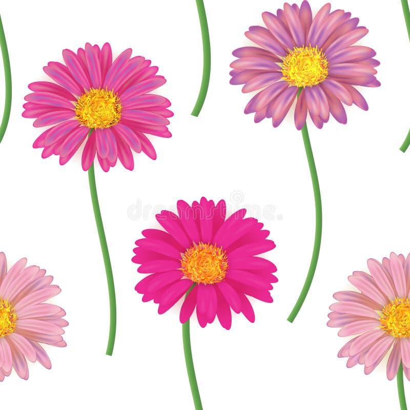 Bezszwowy wzór z kolorowymi gerbera kwiatami również zwrócić corel ilustracji wektora ilustracja wektor