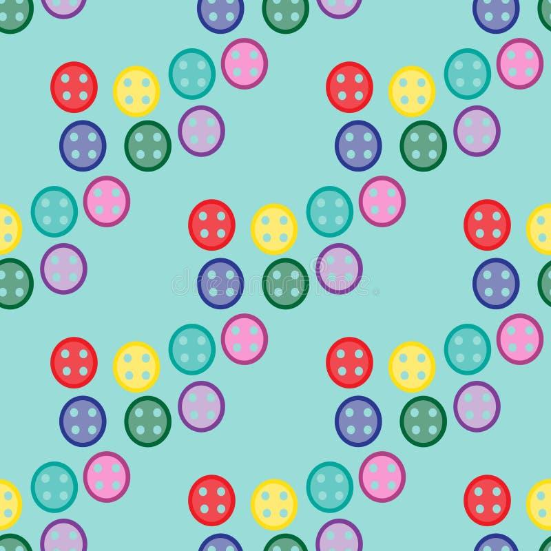 Bezszwowy wzór z kolorowymi guzikami royalty ilustracja