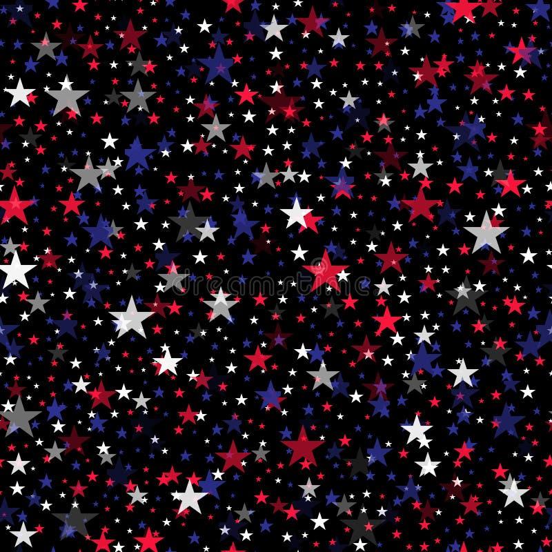 Bezszwowy wz?r z kolorowymi gwiazdami dla 4th Lipa wektor royalty ilustracja