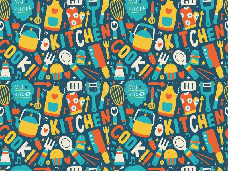 Bezszwowy wzór z kolorowymi kulinarnymi ikonami ilustracja wektor
