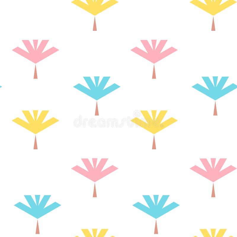 Bezszwowy wzór z kolorowymi liśćmi płaskimi ilustracji