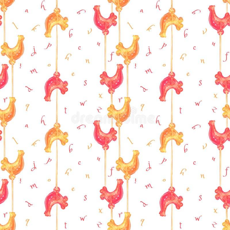Bezszwowy wzór z kolorowymi lizakami na kijach ilustracji