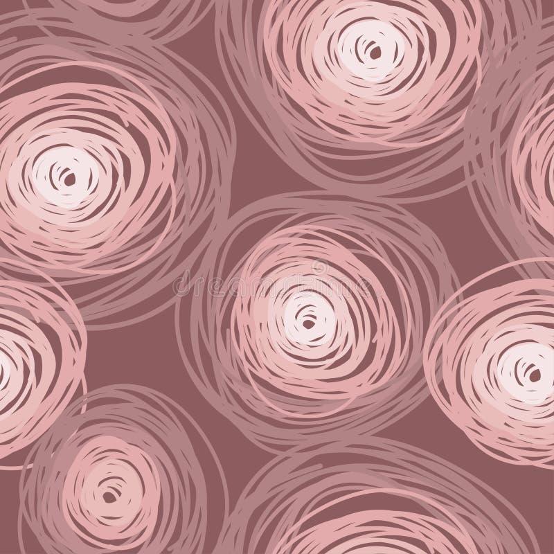 Bezszwowy wzór z kolorowymi okręgami, zakurzony róża kolor ilustracji