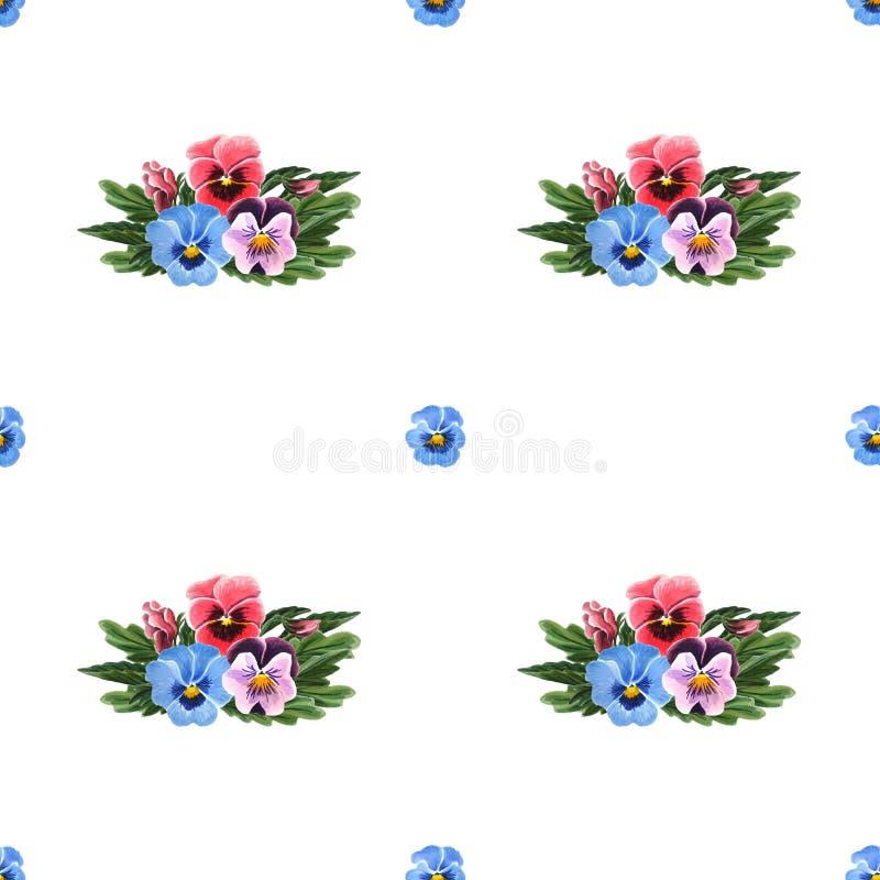 Bezszwowy wzór z kolorowymi Pansies odizolowywającymi na białym tle royalty ilustracja