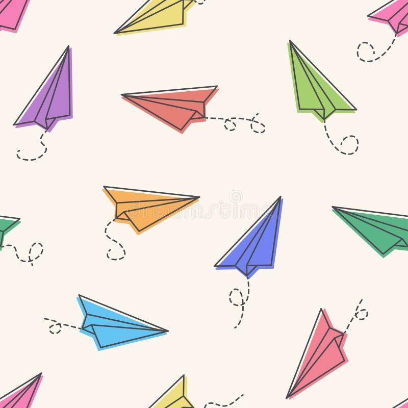 Bezszwowy wzór z kolorowymi papierowymi samolotami r?wnie? zwr?ci? corel ilustracji wektora ilustracja wektor