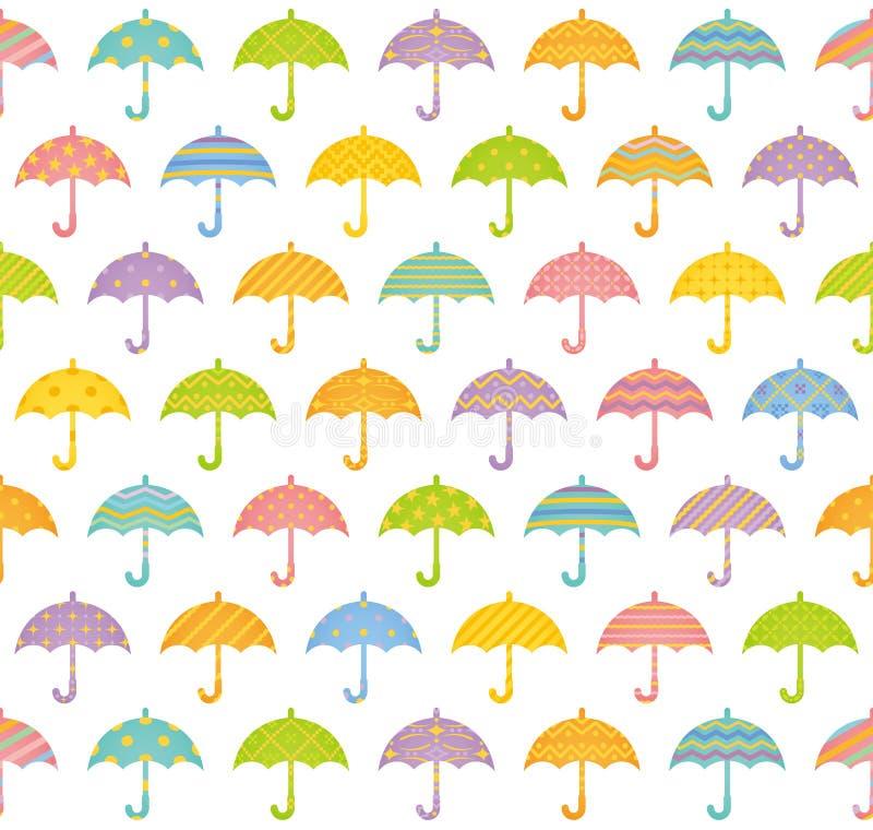 Bezszwowy wzór z kolorowymi parasolami. ilustracja wektor