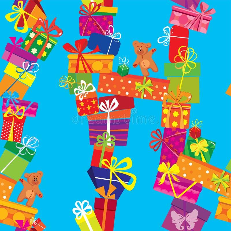 Bezszwowy wzór z kolorowymi prezentów pudełkami royalty ilustracja